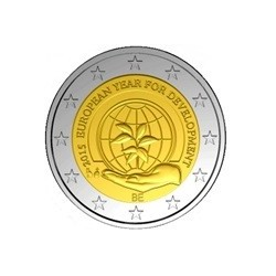 """2 Euro herdenkingsmunt België 2015 """"Europees jaar van de ontwikkeling"""" (in coincard, bestaat niet in rol)"""