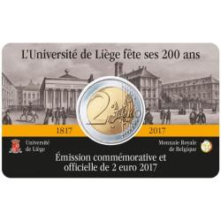 """2 Euro herdenkingsmunt België 2017 """"200 jaar Universiteit van Luik"""" (in coincard, bestaat niet in rol)"""