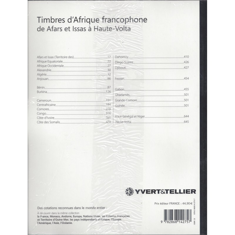 yvert tellier catalogue des timbres d 39 afrique francophone volume 1 afars haute volta. Black Bedroom Furniture Sets. Home Design Ideas