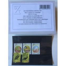 Paquet (100) cartes classeurs noires avec 3 bandes pour timbres-poste