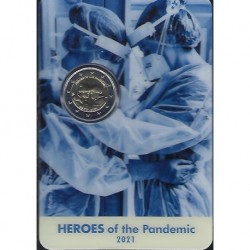 """2 Euro herdenkingsmunt Malta 2021 """"Heroes of the pandemic"""" (FDC in blister)"""
